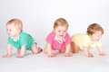 Toddlers portrait of three beautifull sitting in line Stock Photos