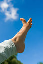 Toe female foot against blue sky Stock Images