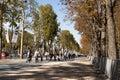 Toeristen in Avenue des Champs-Elysees Parijs Royalty-vrije Stock Foto's
