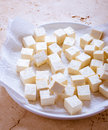 Tofu bean curd asian cubes or soybean drying on a paper towel before cooking Royalty Free Stock Image