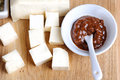Tofu cheese with Japaneses souse Royalty Free Stock Photo