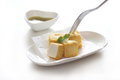 Tofu fish in white plate on white background Royalty Free Stock Photo