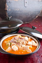 Tofu and meat Stock Image