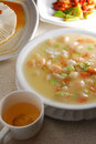 Tofu shrimp scallop soup Stock Photography