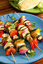 Tofu vegetable kebabs Stock Photo