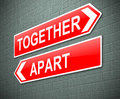 Together or apart concept illustration depicting a sign with a Stock Photography