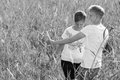Together lovely lesbian couple on outdoor black and white image Stock Images