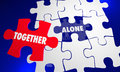 Together Vs Alone Puzzle Piece Working With Each Other Royalty Free Stock Photo