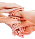 Togetherness means power many hands together presenting the concept of a great team Royalty Free Stock Photo