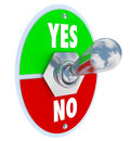 Toggle switch lever yes no approval or rejection the words and on a for you to decide choose whether you accept reject an idea Stock Images