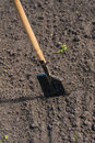 Toil work of ground spade insert soil a Stock Image