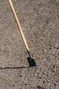 Toil work of ground spade insert soil a Stock Photography