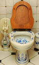 Toilet bowl painting Gzhel Royalty Free Stock Photo