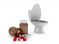 Toilet bowl on white background. Isolated 3D