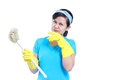 The toilet cleaner asian lady preparing to clean isolated in white background Royalty Free Stock Photography