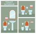 Toilet interior set in flat style