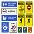 Toilet notice and restroom warning sign signboards a set of symbols they are public direction with arrow no smoking keeping clean Royalty Free Stock Images