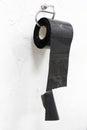 Toilet paper made of nylon as absurd, humor, joke, paradox