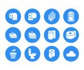 Toilet paper roll, towel flat glyph icons. Hygiene illustrations, mobile wc, restroom, tree layered napkin. Signs for Royalty Free Stock Photo