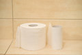 Toilet paper rolls standing in the bathroom Royalty Free Stock Images