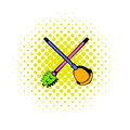 Toilet plunger and brush icon, comics style