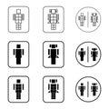 Toilet robot sign icons set
