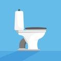 Toilet Seat Bowl Flat Vector Illustration