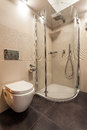 Toilet and shower in bathroom seat white Stock Photos