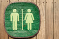 Toilet sign close up of wooden Stock Photography