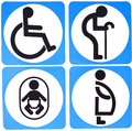 Toilet sign with white circle background Royalty Free Stock Photo