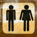 Toilet sign on wood paint black man and woman Stock Photos
