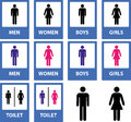 Toilet signs set of different kind of sings Royalty Free Stock Images