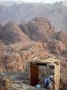 Toilet on top of a mountain Royalty Free Stock Photo