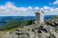 Toilet with a view possibly the best place in the world for number on top of mt albert quebec canada Royalty Free Stock Photography