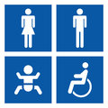 Toilette signs four different blue Stock Photography
