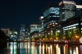 Tokyo city lights the of reflect off of the water Royalty Free Stock Image