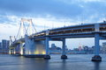Tokyo city view rainbow bridge this is in odaiba are japan Royalty Free Stock Photo