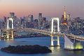 Tokyo city view rainbow bridge this is in odaiba are japan Royalty Free Stock Image