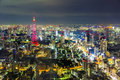 Tokyo cityscape scene night time from sky view of the roppongi h japan october hills building on oct is a district Stock Image