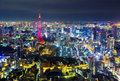 Tokyo cityscape scene night time from sky view of the roppongi h japan october hills building on oct is a district Royalty Free Stock Photos