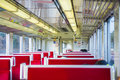 TOKYO, JAPAN - FEBRUARY 21, 2016 : red seats inside trains at Ja Royalty Free Stock Photo