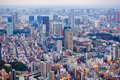 Tokyo, Japan-March 29, 2016: Aerial view of Tokyo skyline with the highway bridges Royalty Free Stock Photo
