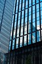 TOKYO, JAPAN - OCTOBER 31, 2017: View of a tall building in the center of the city`. Bottom view. Copy space for text Royalty Free Stock Photo