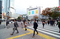 Tokyo november crowds of people crossing the center of shi shibuya in most important commercial in japan Stock Image