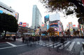 Tokyo november crowds of people crossing the center of shi shibuya in most important commercial in japan Stock Photography