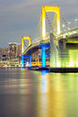 Tokyo rainbow bridge from odaiba at dusk in japan Royalty Free Stock Images