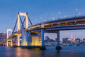 Tokyo Rainbow bridge and Tokyo Tower in evening Royalty Free Stock Photo