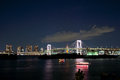 Tokyo rainbow bridge with toyko tower Royalty Free Stock Photo