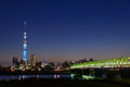 Tokyo sky tree at dusk the is the new landmark of since may it is the tallest tower in the world in height of metres view from a Stock Image