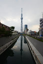 Tokyo sky tree a reflection of in a cloudy day Stock Image
